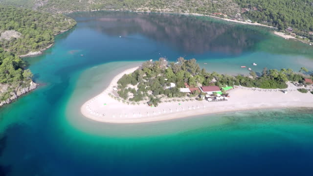 Oludeniz - Aerial video Oludeniz beach in summertime. aegean turkey stock videos & royalty-free footage