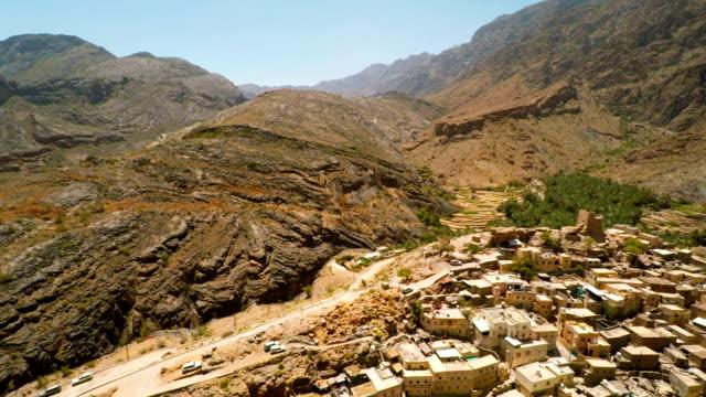 villaggio nelle montagne dell'oman - oman video stock e b–roll