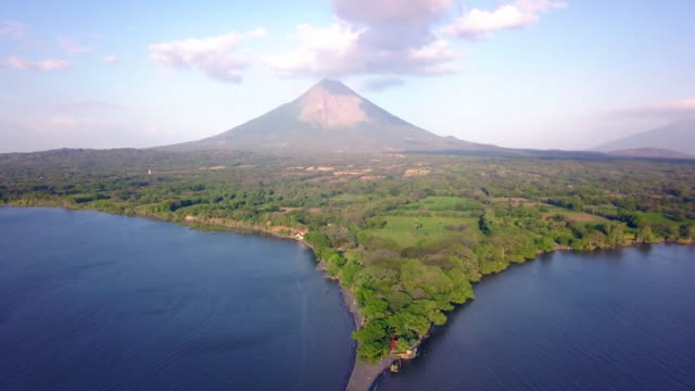 Ometepe Island Volcano Aerial Drone shot of volcano in nicaragua puerto rico stock videos & royalty-free footage