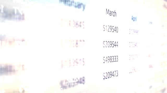 Ominous fiery stock market ticker scrolling over a companies business financial documentOminous fiery stock market ticker scrolling over a companies business financial document video