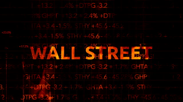 Ominous Fiery Wall Street Stock Market Numbers with graph typography - Wall Street video