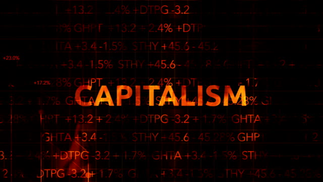 Ominous Fiery Wall Street Stock Market Numbers with graph typography - Capitalism video