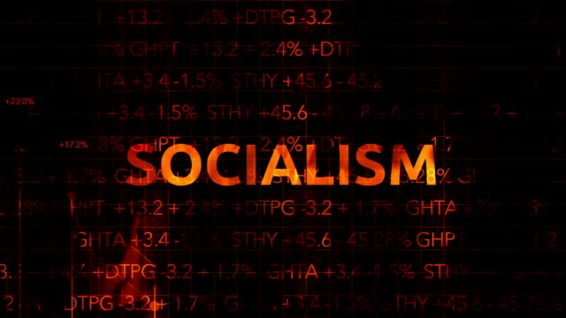 Ominous Fiery Wall Street Stock Market Numbers with graph typography - Socialism video