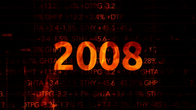 Ominous Fiery Wall Street Stock Market Numbers with graph typography - 2008 video