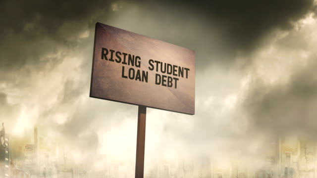 ominous rusty sign against post apocalyptic city background - rising student loan debt typography - debt stock videos & royalty-free footage