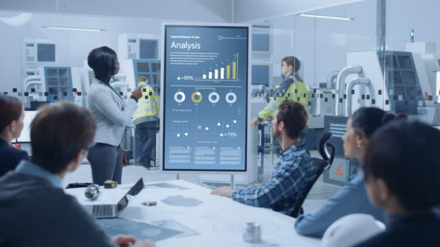 On a Meeting Chief Industrial Engineer Reports to a Group of Specialists, Managers, Uses Digital Whiteboard to Show Statistics with Graphs, Company Productivity Growth. Successful Industrial Factory On a Meeting Chief Industrial Engineer Reports to a Group of Specialists, Managers, Uses Digital Whiteboard to Show Statistics with Graphs, Company Productivity Growth. Successful Industrial Factory analytics stock videos & royalty-free footage