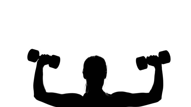on a white background, a shadow, a black outline of a female figure doing exercises for the muscles of the hands, using dumbbells video