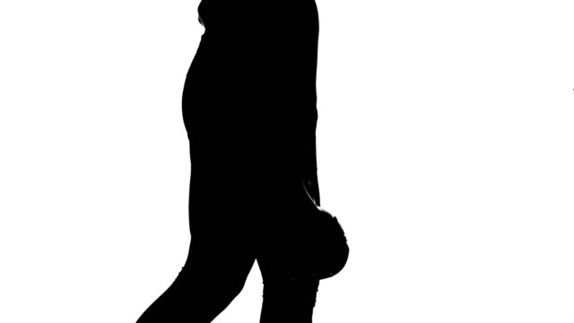 on a white background, a shadow, a black outline of a female figure doing exercises doing exercises with weight, using weight video