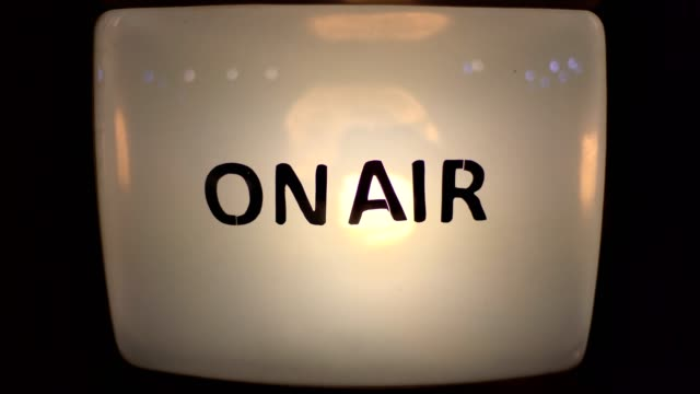 On Air message on old vintage retro Television close up