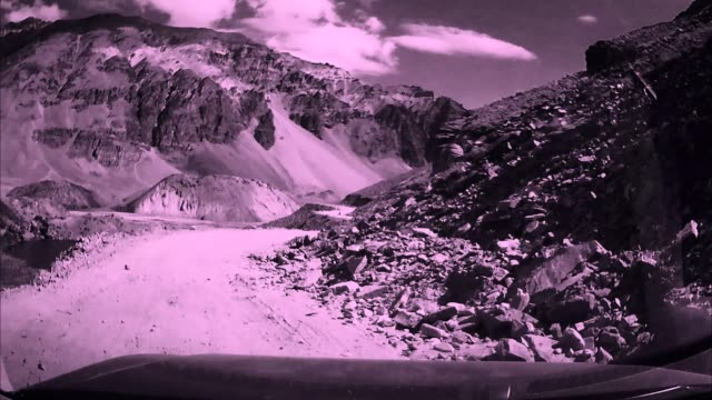 On board camera view : Changing transitions with dangerous mountain valley video