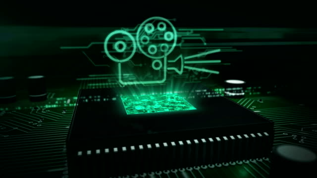 CPU on board with projector symbol hologram