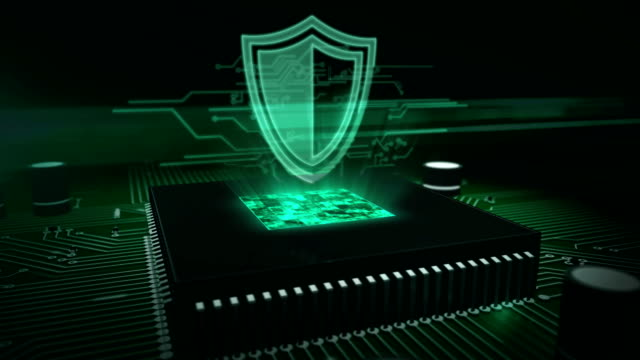 CPU on board with shield hologram Cyber security concept with shield hologram over working cpu in background. 3D flight over futuristic circuit board. Digital protection, firewall, cyberspace and computer safety abstract animation. shield stock videos & royalty-free footage