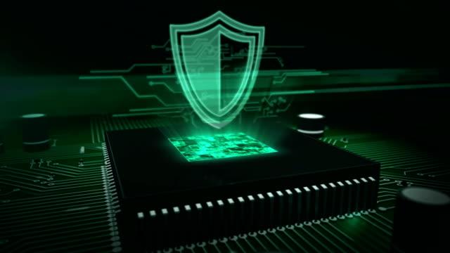 vídeos y material grabado en eventos de stock de cpu a bordo con holograma de escudo - shield