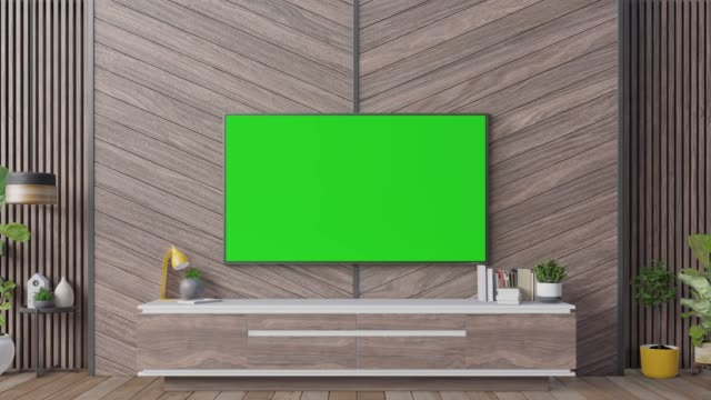 vídeos de stock e filmes b-roll de tv on cabinet in modern living room with lamp,table,flower and plant on wooden wall background - living room background