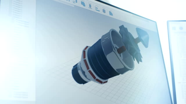 On Screen Footage of 3D Model of Industrial Turbine/ Engine Part Made with CAD Software. video