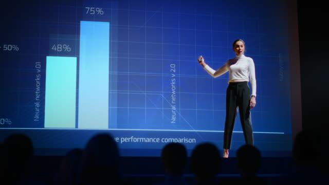 på stag presenterar framgångsrik kvinnlig högtalare teknisk produkt, använder fjärrkontroll för presentation, visar infografik, statistikanimering på skärmen. live event / device release. slow motion - affärskonferens bildbanksvideor och videomaterial från bakom kulisserna