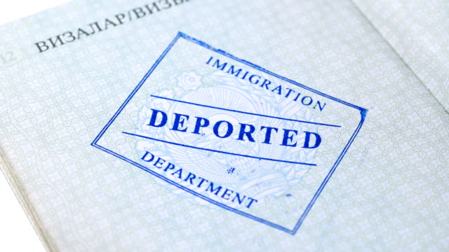 on the passport stamped deported on the passport the immigration service puts a stamp on deportation, close-up 4K schengen agreement stock videos & royalty-free footage