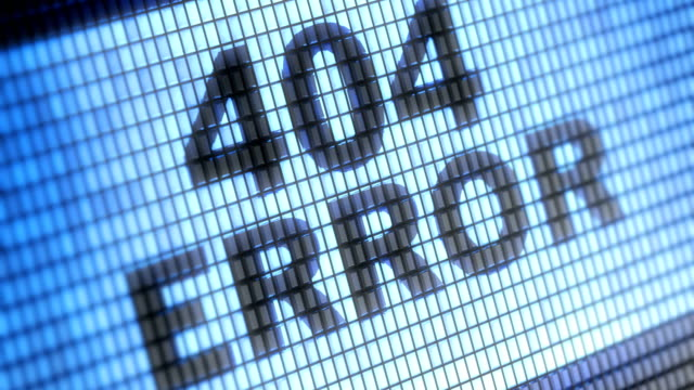 """404 error"" on the screen. 4k resolution. looping. - errore video stock e b–roll"