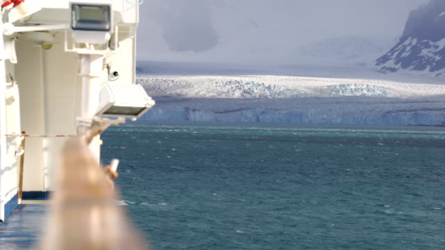 On top of a ship with view at antartica