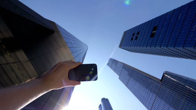 POV on Tourist Photographing Financial Manhattan District in NYC in 4K Slow motion 60fps video