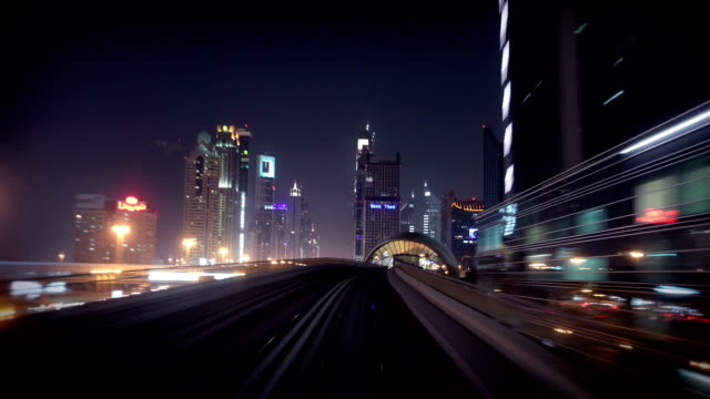 Onboard the Dubai Metro during night video