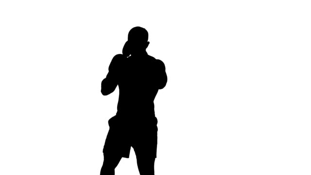 one caucasian man exercising boxing boxer  workout fitness in silhouette video