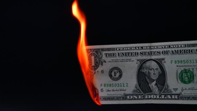 One dollar bill burning video