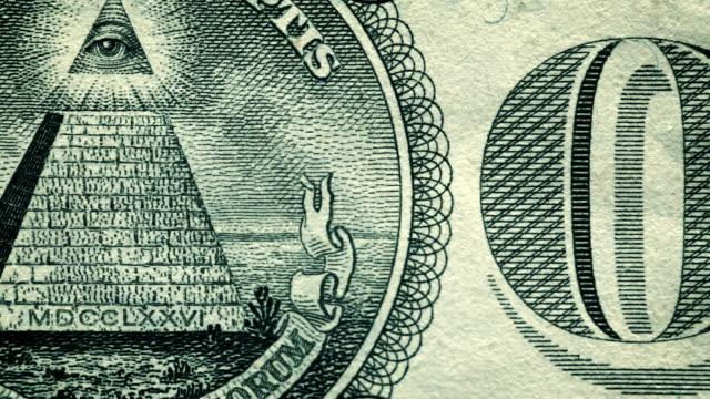 en us-dollar bill närbild detaljer - pyramidform bildbanksvideor och videomaterial från bakom kulisserna
