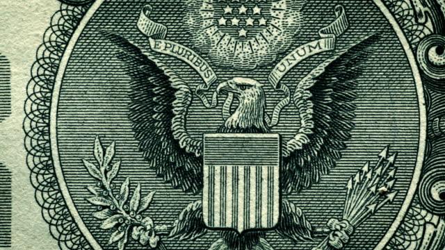 U.S. one dollar bill close-up details video