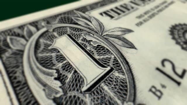U.S. One Dollar Bill Macro Close-up Pan video