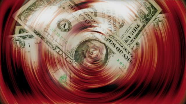 One dollar bills turning - Billetes de Un dolar girando
