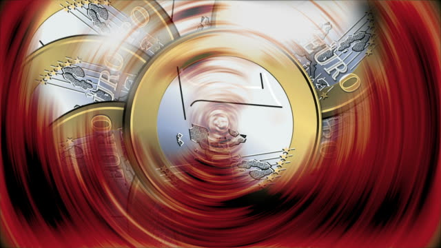 One euro coins spinning - Monedas de Un euro girando