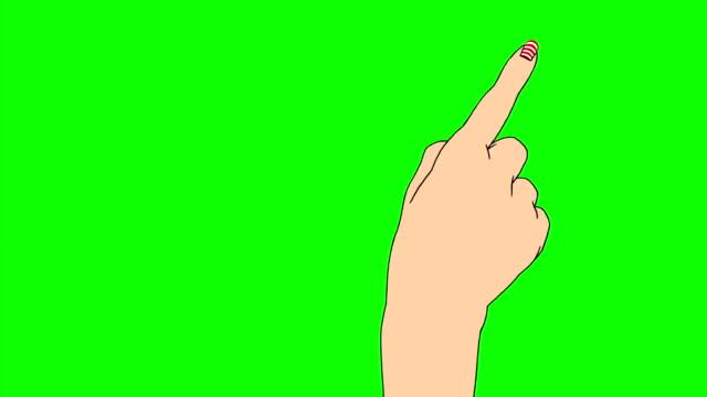 1 つの指 gests にレッドとホワイトの足の爪 - 指点の映像素材/bロール