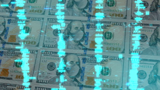 One hundred dollar bill with protective face mask in a digital space of numbers. Concept of the coronavirus pandemic in USA.