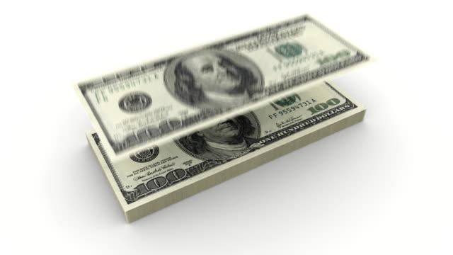 One Hundred Dollar Bills Falling. With Alpha Matte video