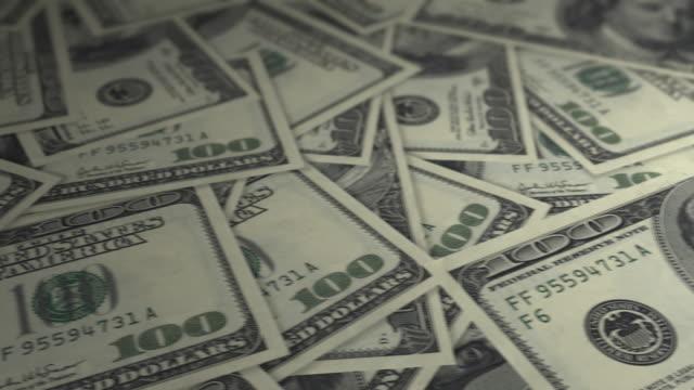 One Hundred Dollar Bills - tracking shot. 4k video