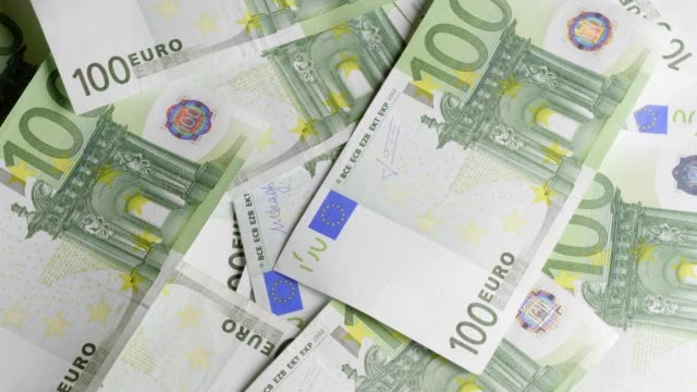 One hundred Euro-banknotes turning Turning shot of One-Hundred Euro-banknotes. european union currency stock videos & royalty-free footage