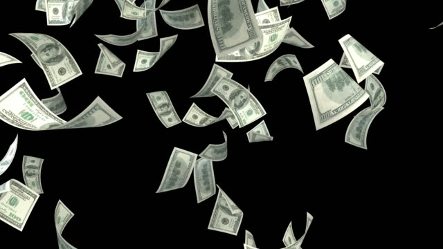 One Hundred USD Dollar Bills Falling On Black Background One Hundred US Dollar Bills Falling On Black Background. Alpha cannel is included. Loop ready. High quality render in 4K resolution. paper currency stock videos & royalty-free footage