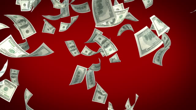 One Hundred USD Dollar Bills Falling On Red Background video