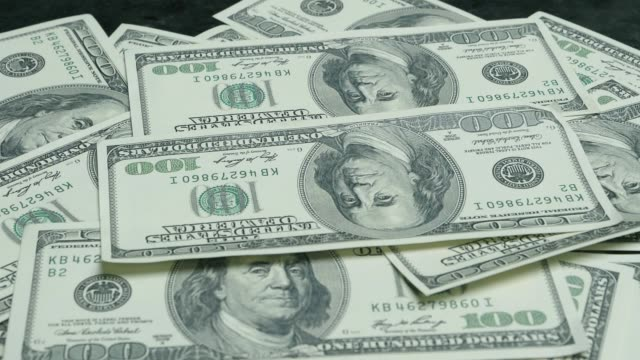 One Hundred USD Dollar Bills Falling. video