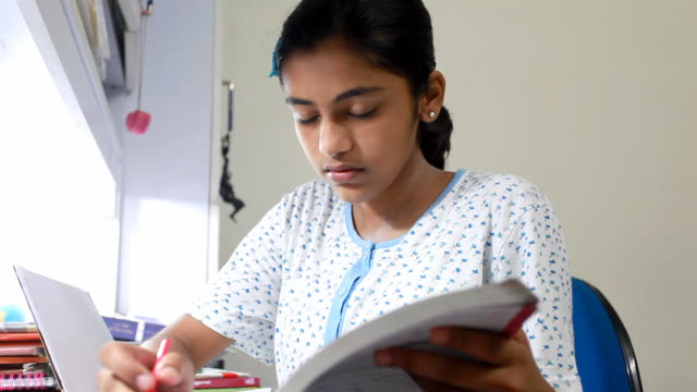 One Indian Teenage Girl Studying at Home video