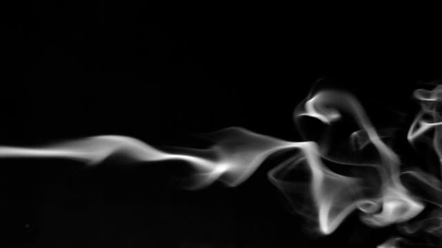 One line white smoke on a black background video