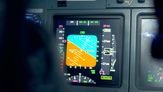 One monitor on a plane's dashboard, close up. A monitor on a dashboard in a flight simulator. cockpit stock videos & royalty-free footage