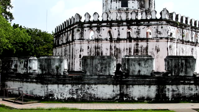 One of the surviving forts of Bangkok - Phra Sumen Fort. Architecture details. Thailand video