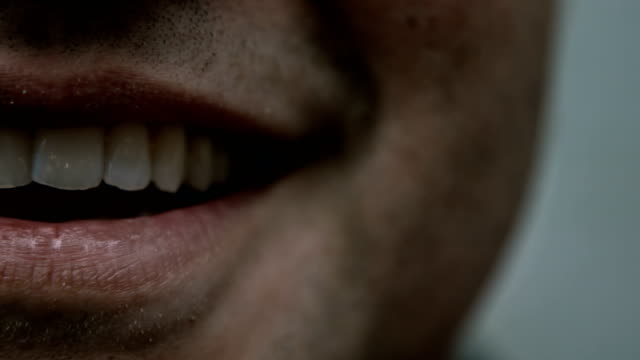 One Side of a Man's Smiling Mouth video