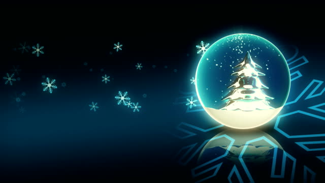 One Turning Blue Christmas Ball and Snowflake video