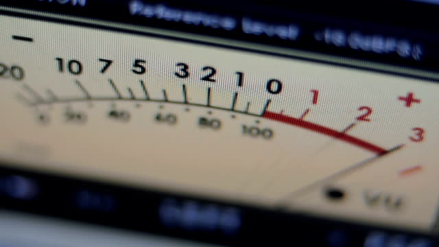 one vintage analog vu meter with the needle moving - mangianastri video stock e b–roll