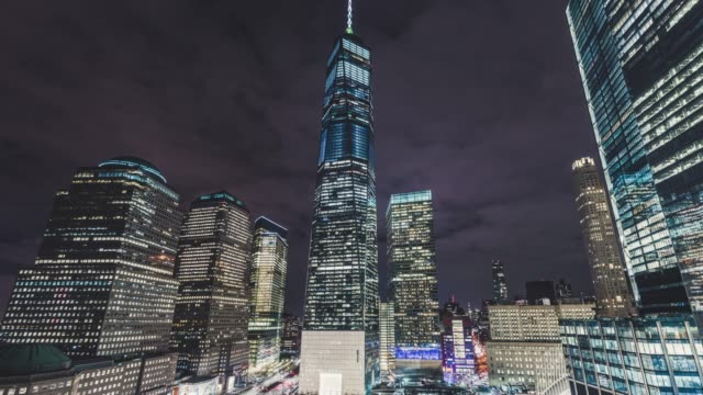T/L PAN One World Trade Center, Downtown Manhattan at Night / New York, USA video