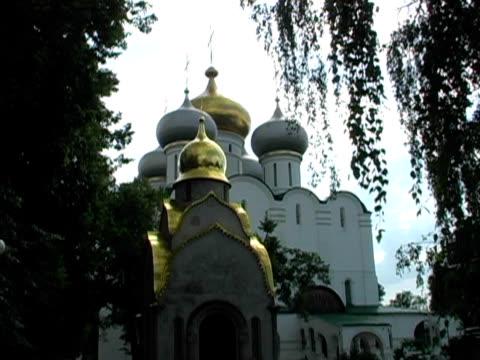 onion domes, orthodox church crosses on roof through trees (russia) - i̇badet yeri stok videoları ve detay görüntü çekimi
