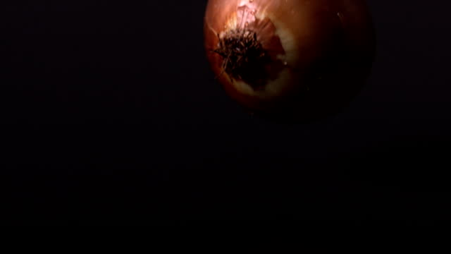 Onion falling against black background video